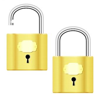 開いた状態と閉じた状態の黄色の南京錠