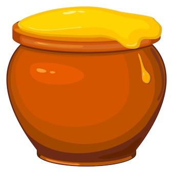 Векторная иллюстрация мультяшный горшок с медом