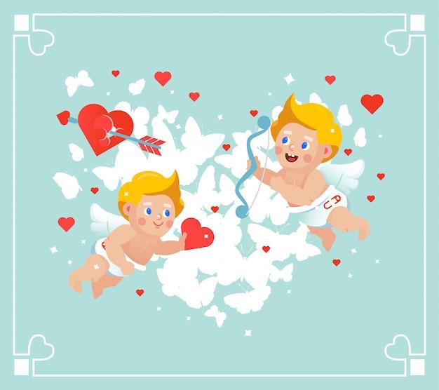 ベクトルバレンタインフライングキューピッドカード。