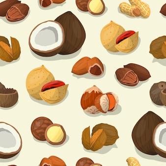 ナッツと種子が覆います。カシューナッツとブラジルのナッツ食品、ヘーゼルナッツとアーモンド、