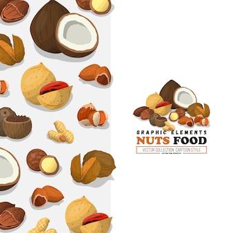ナッツと種子のイラスト。フラットスタイルカシューナッツとブラジルのナッツフード、ヘーゼルナッツとアーモンド、クルミ、ナツメグなど。ココナッツ。