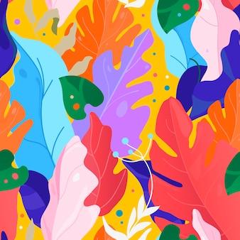メンフィス柄。創造的な現代的なシームレスな花柄。コラージュ。ベクトルのエキゾチックなジャングルの植物のイラスト。