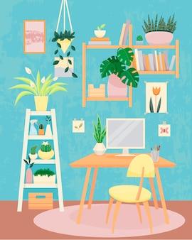 Концепция домашнего офиса с растениями