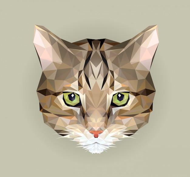 Кот в стиле многоугольника. иллюстрация треугольника животного для пользы как печать на футболке и плакате. геометрическая низкая поли дизайн иллюстрация. значок кота.