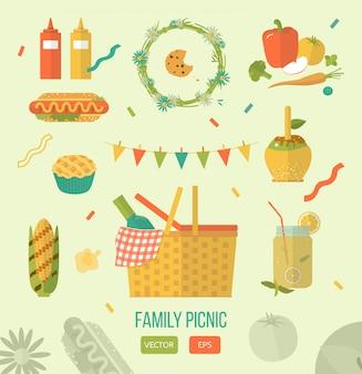 Векторная иллюстрация семейный пикник