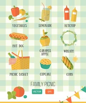 ベクトルイラスト家族のピクニック