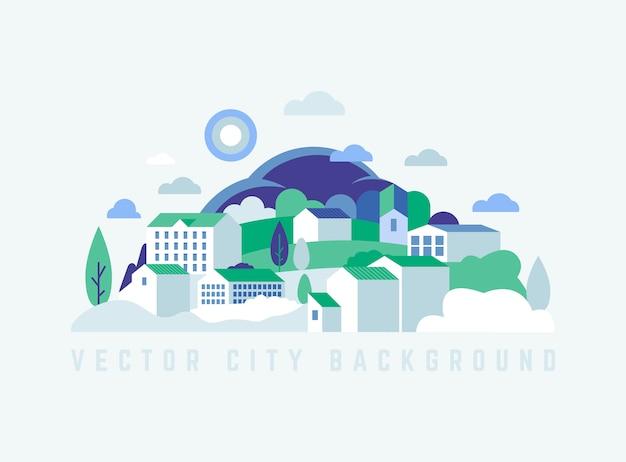 Эко-городской пейзаж со зданиями, холмами и деревьями