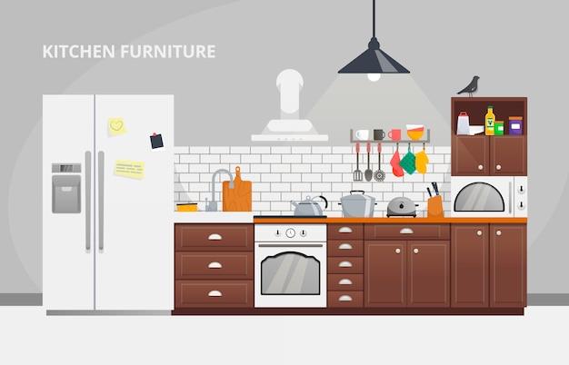 家具デザインコンセプト。キッチンのモダンなデザインテンプレート。家具付きのキッチンインテリア。家具のウェブサイトの図スライド。