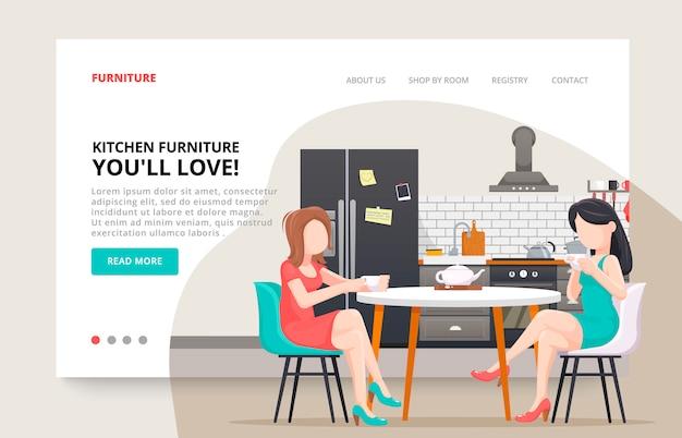 Мебельный сайт. девушки персонажей друзей концепции. кухня современный дизайн бизнес шаблон. интерьер кухни с мебелью. иллюстрация слайд для мебельного сайта.