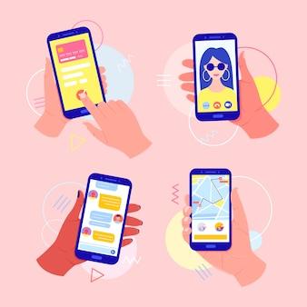 画面上のアプリケーションで携帯電話を持っている手:カードによるオンライン支払い、ビデオ通話、タクシー通話、メッセンジャーでのチャット。ビデオ通話のコンセプト。指で画面に触れます。
