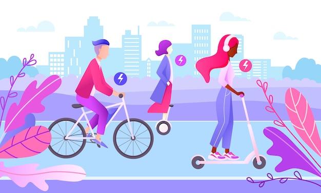 Концепция умного города. подростки за рулем электрического транспорта. персонажи катаются на велосипеде, скутере, ховерборде по бездорожью в городе. экологичный транспорт.