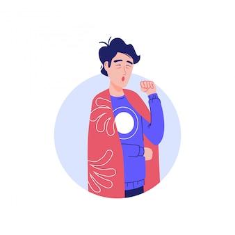 Человек с кашлем и болью в груди, лихорадкой. концепция характера эпидемического заболевания. больной человек с симптомом коронавирусной болезни - сухой кашель. человек с холодным знаком, значок респираторной вирусной инфекции.