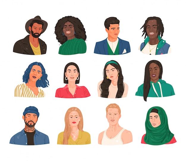 Коллекция портретов реальных людей разных национальностей. пачка улыбающихся мужчин и женщин, мужские и женские лица с разными прическами. набор вымышленных людей плеч аватары.