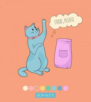 Милый голодный кот, просит кушать - цитирую печать. кошка кричит мяу, просит накормить - наклейка, значок каракули. говорящий кот, каракули иллюстрации с фразой в речи пузырь.