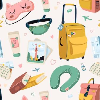 休暇旅行パターン。各種荷物バッグ、スーツケース、化粧品の観光セット。海外旅行、飛行機、シームレスなパターン。