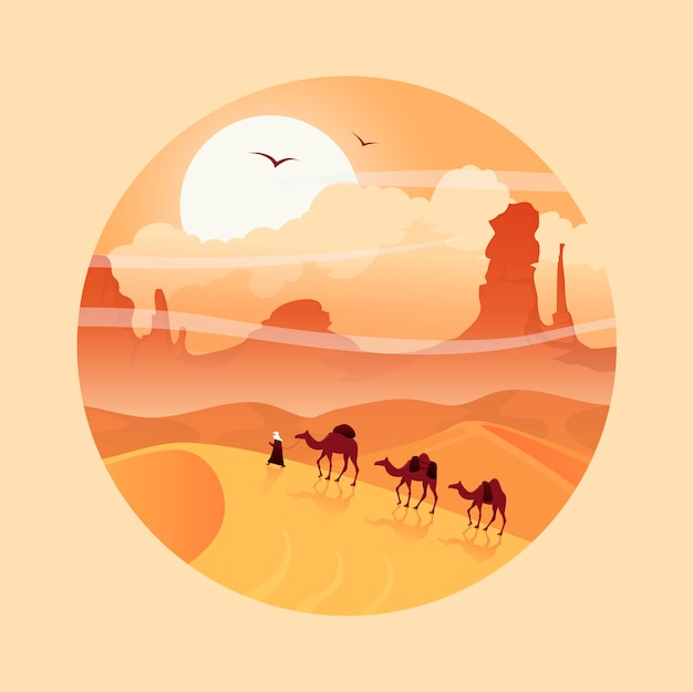 ラクダのキャラバンと砂漠の風景。サハラ。ドバイの砂漠サファリ。アラビアの冒険。