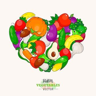 新鮮な野菜フルーツハートの白い背景で隔離。健康的な野菜のイラスト。
