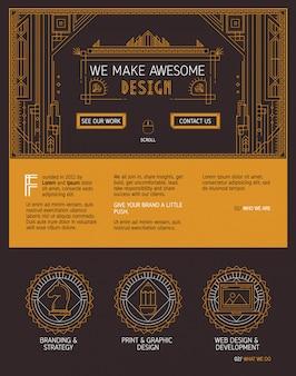 Векторный шаблон веб-сайта на одну страницу в стиле ар-деко.