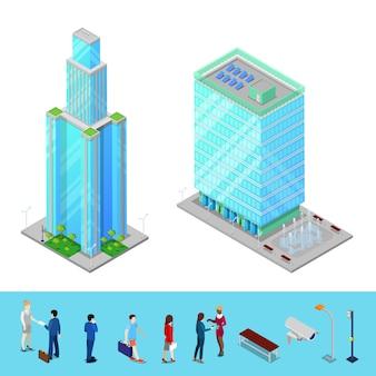 Изометрические небоскреб сити офисное здание с деловыми людьми.
