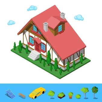 Изометрические сельские коттедж строительство дом.