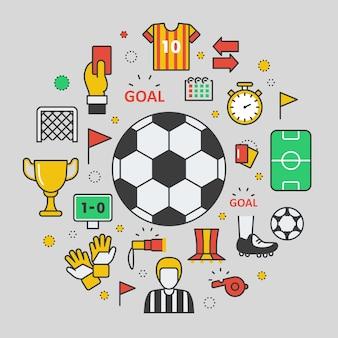 サッカーサッカーラインアート