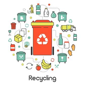 Мусорные отходы, переработка линии искусства тонкие векторные иконки набор с мусорными корзинами