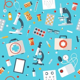 医療用具のシームレスなパターン。医療スタッフの背景