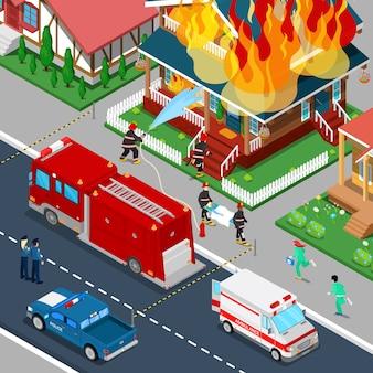 Пожарные тушат пожар в доме изометрические города. пожарный помогает пострадавшей женщине.