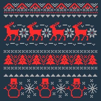 Рождественский пиксель фон для традиционного скандинавского свитера. иллюстрация
