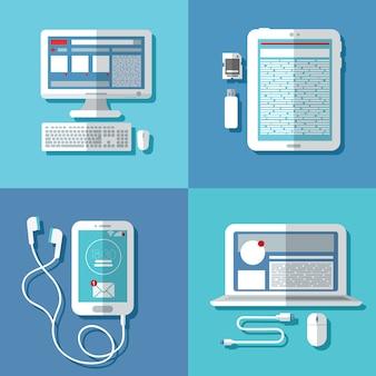 現代のテクノロジー:ラップトップ、コンピューター、スマートフォン、タブレット、アクセサリー