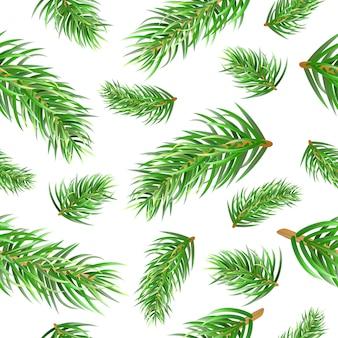 Рождественская елка еловые ветки бесшовные модели.
