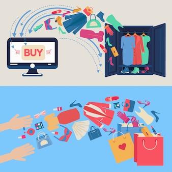 フラットなデザインのオンラインショッピングの概念