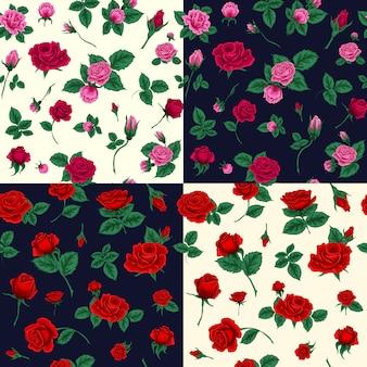 バラと花のシームレスパターンのセット