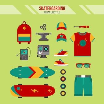 Комплект для скейтбординга. городской образ жизни. набор аксессуаров для скейтбординга