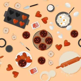 パン屋さんのお菓子のシームレスパターン