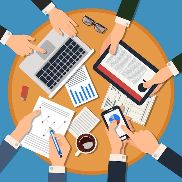 手でのビジネス会議