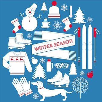Набор иконок зимнего сезона в стиле ретро
