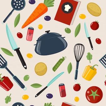 キッチン健康的な料理のシームレスパターン