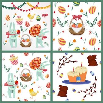 背景、要素 - ウサギ、卵、ひよこ、花、花輪のハッピーイースターセット
