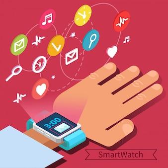 手とアイコンを持つスマートウォッチ技術コンセプト