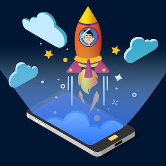 ビジネスプロジェクト開始コンセプト。スマートフォンとロケットによる等尺性デザイン