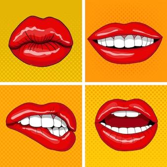 レトロなポップアートスタイルの唇セット