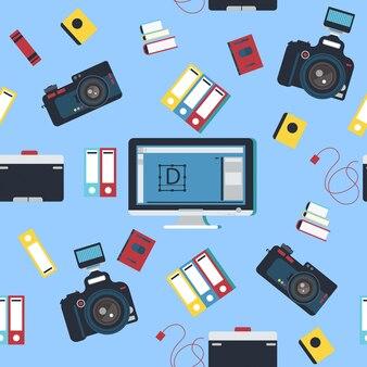 カメラマンツールカメラとコンピューターのシームレスパターン