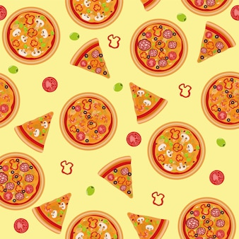 食材を使ったピザのシームレスパターン
