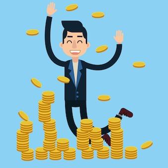 成功した実業家は大きなお金の取引を祝う