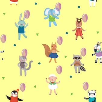 動物との誕生日のシームレスパターン