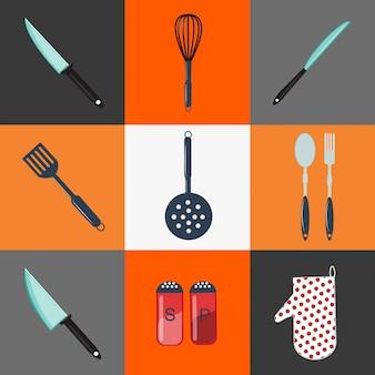 台所用品。キッチン用品キッチンカトラリー家庭用オブジェクトアイコンを設定します。ナイフ、フォーク、スプーン、ピーマン、塩、ザル
