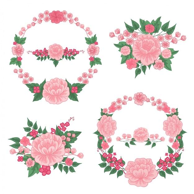 花を設定します。花のフレーム。グリーティングカードの装飾。花の花輪。