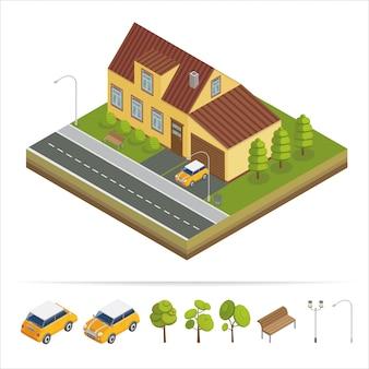 モダンハウス現代の家等尺性の概念。不動産。コテージ。等尺性の家コンピューターのアイコン。モダンなスカンジナビア風