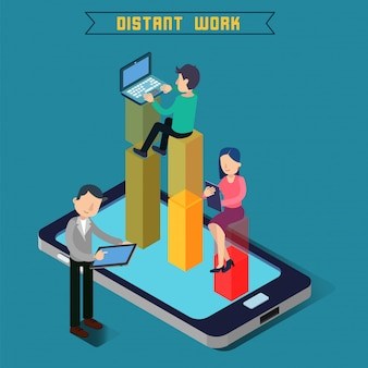 遠い仕事。チームワーク現代の技術リモートワークラップトップを持つ男。タブレットを持つ女性。